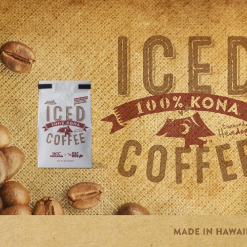 Iced coffee using kona coffee bean from Big Island