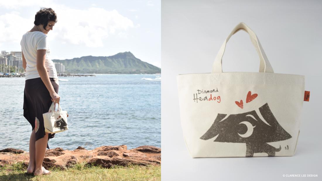 tote bag with 111-Hawaii character mascot