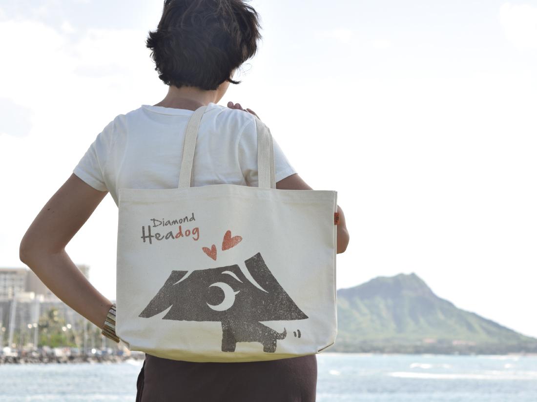 ハワイのかわいいキャラクターのトートバッグ